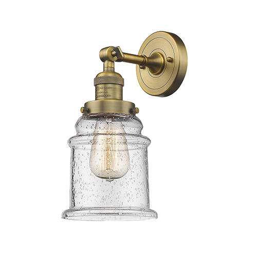 Innovations Lighting Canton Brushed Brass LED Wall Sconce with Seedy Bell Glass
