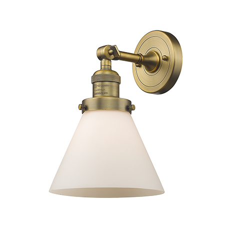 Innovations Lighting Large Cone Brushed Brass LED Wall Sconce with Matte White Cased Cone Glass
