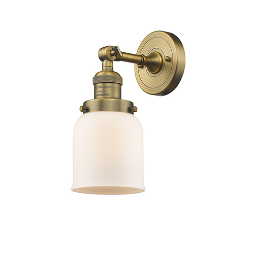 Innovations Lighting Small Bell Brushed Brass One-Light Wall Sconce with Matte White Cased Bell Glass