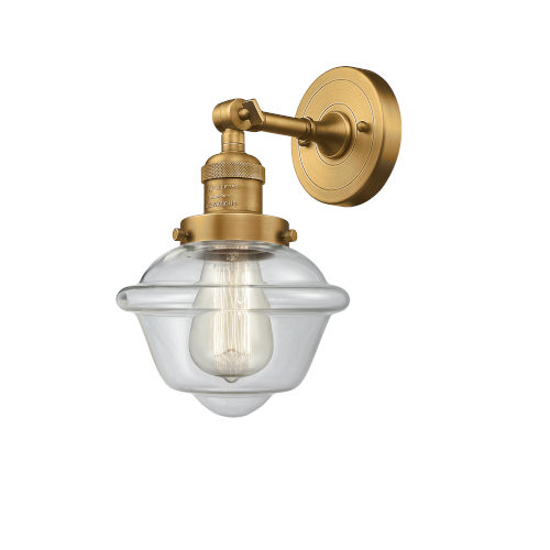 Small Oxford Brushed Brass LED Wall Sconce with Clear Glass