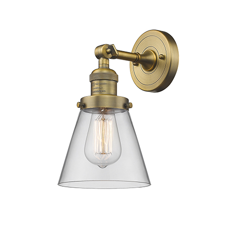 Small Cone Brushed Brass One-Light Wall Sconce with Clear Cone Glass