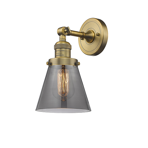 Innovations Lighting Small Cone Brushed Brass One-Light Wall Sconce with Smoked Cone Glass