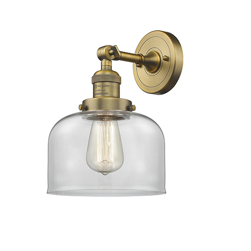 Innovations Lighting Large Bell Brushed Brass LED Wall Sconce with Clear Dome Glass