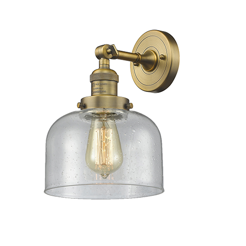 Innovations Lighting Large Bell Brushed Brass LED Wall Sconce with Seedy Dome Glass