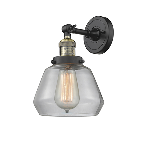 Innovations Lighting Fulton Black Brushed Brass LED Wall Sconce with Clear Sphere Glass