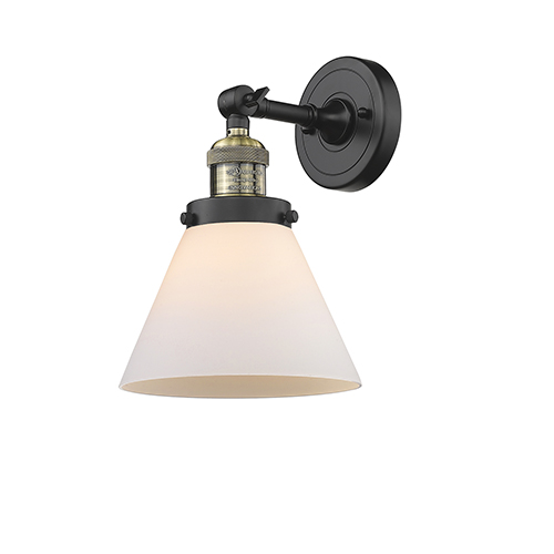 Innovations Lighting Large Cone Black Brushed Brass LED Wall Sconce with Matte White Cased Cone Glass