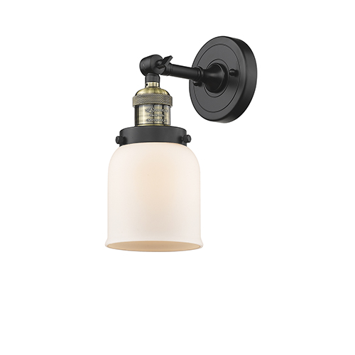 Innovations Lighting Small Bell Black Brushed Brass LED Wall Sconce with Matte White Cased Bell Glass