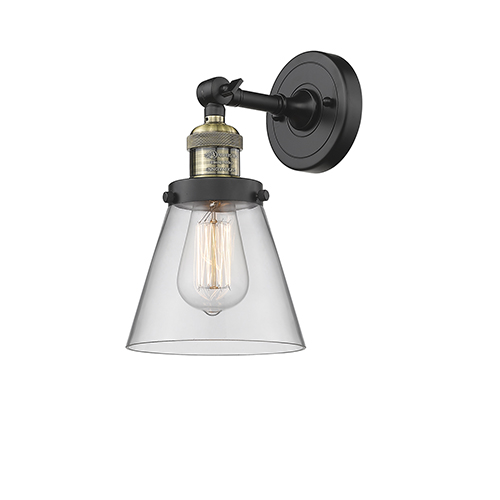 Innovations Lighting Small Cone Black Brushed Brass One-Light Wall Sconce with Clear Cone Glass