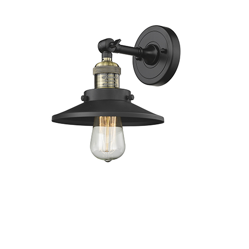 Railroad Black Brushed Brass One-Light Wall Sconce with Black Metal Shade