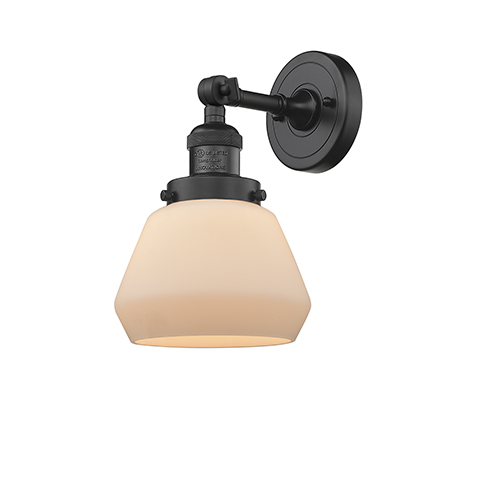 Innovations Lighting Fulton Black Seven-Inch One-Light Wall Sconce with Matte White Cased Sphere Glass