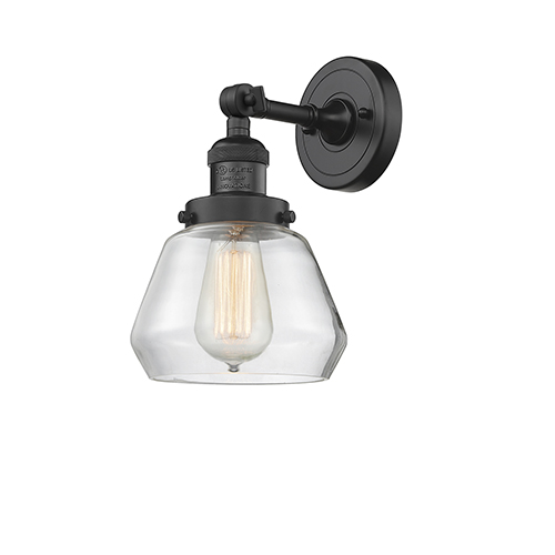 Innovations Lighting Fulton Black Seven-Inch One-Light Wall Sconce with Clear Sphere Glass