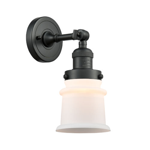 Franklin Restoration Matte Black Seven-Inch LED Wall Sconce with Matte White Canton Shade