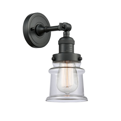 Franklin Restoration Matte Black 11-Inch One-Light Wall Sconce with Clear Canton Shade