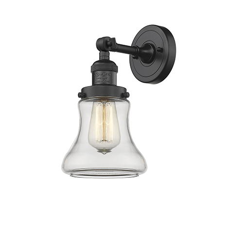 Innovations Lighting Bellmont Black Seven-Inch LED Wall Sconce with Clear Hourglass Glass