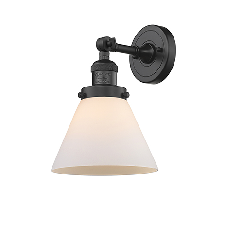 Innovations Lighting Large Cone Black Eight-Inch LED Wall Sconce with Matte White Cased Cone Glass