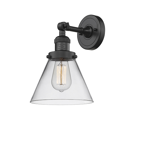Large Cone Black Eight-Inch One-Light Wall Sconce with Clear Cone Glass