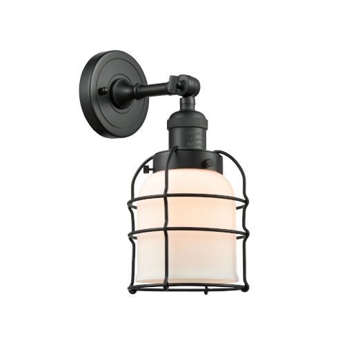 Small Bell Cage Matte Black One-Light Wall Sconce with Matte White Cased Glass