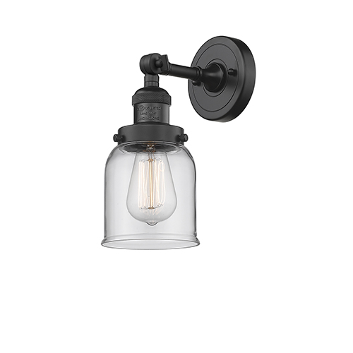 Small Bell Black Five-Inch One-Light Wall Sconce with Clear Bell Glass