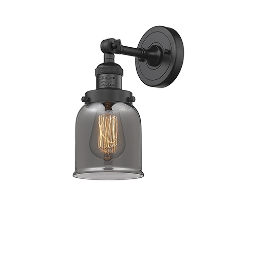 Innovations Lighting Small Bell Black Five-Inch LED Wall Sconce with Smoked Bell Glass