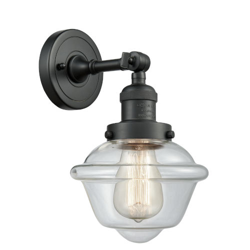 Small Oxford Matte Black LED Wall Sconce with Clear Glass