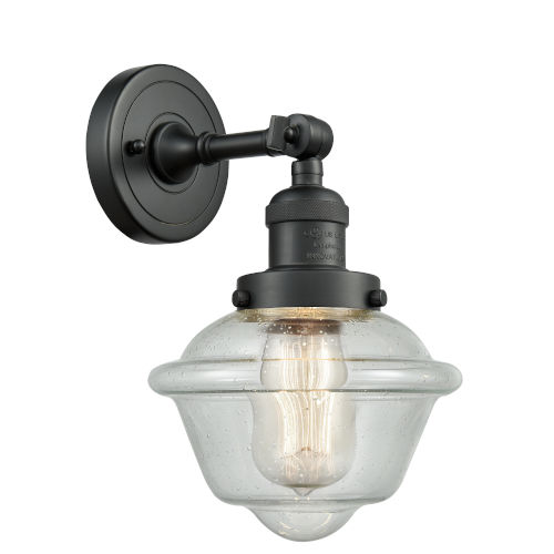 Small Oxford Matte Black One-Light Wall Sconce with Engraved Cast Cup
