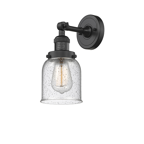 Innovations Lighting Small Bell Black Five-Inch One-Light Wall Sconce with Seedy Bell Glass