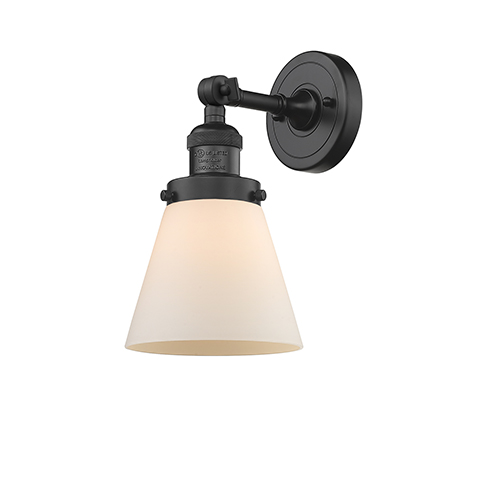 Innovations Lighting Small Cone Black Six-Inch One-Light Wall Sconce with Matte White Cased Cone Glass