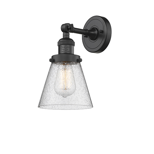 Innovations Lighting Small Cone Black Six-Inch One-Light Wall Sconce with Seedy Cone Glass