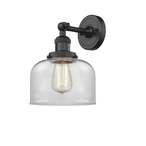 Innovations Lighting Large Bell Black Eight-Inch One-Light Wall Sconce with Clear Dome Glass