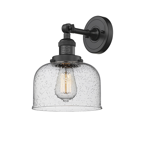 Innovations Lighting Large Bell Black Eight-Inch One-Light Wall Sconce with Seedy Dome Glass