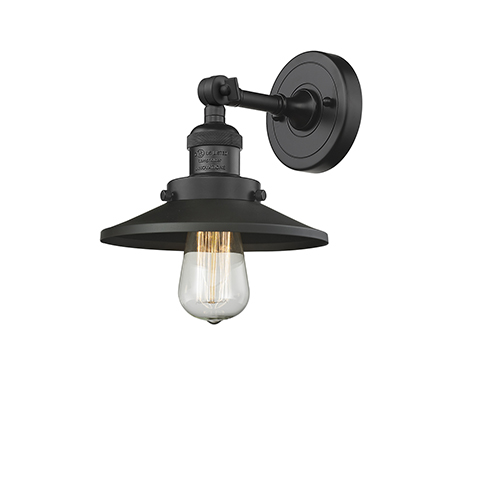 Railroad Black Eight-Inch One-Light Wall Sconce with Matte Black Metal Shade