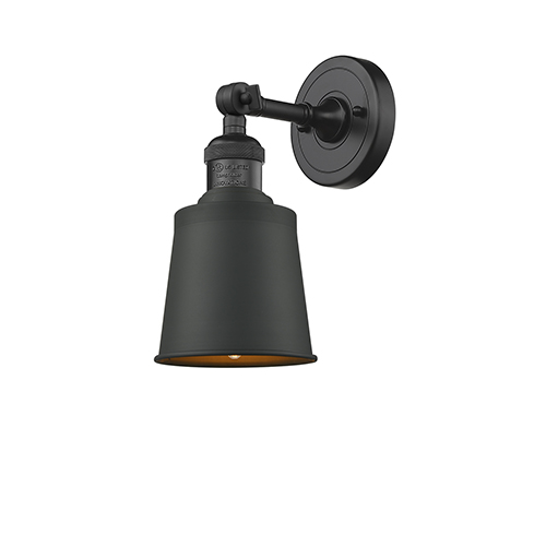 Addison Black Five-Inch One-Light Wall Sconce with Brushed Brass Metal Shade