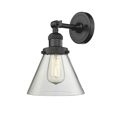 Innovations Lighting Large Cone Oiled Rubbed Bronze 10-Inch LED Wall Sconce with Clear Cone Glass