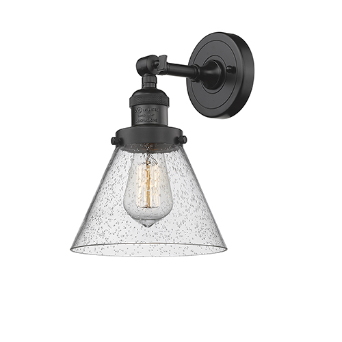 Innovations Lighting Large Cone Oiled Rubbed Bronze 10-Inch LED Wall Sconce with Seedy Cone Glass