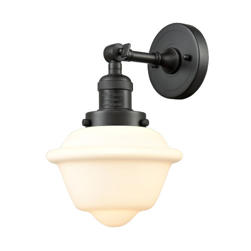 Small Oxford Oil Rubbed Bronze LED Wall Sconce with Matte White Cased Glass