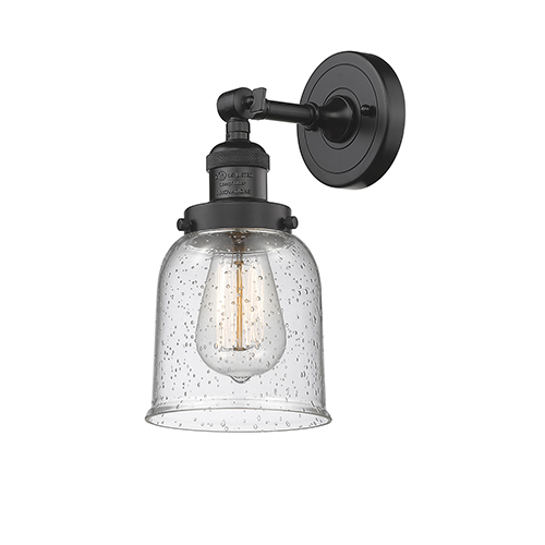 Innovations Lighting Small Bell Oiled Rubbed Bronze 10-Inch One-Light Wall Sconce with Seedy Bell Glass