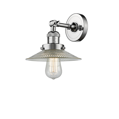 Innovations Lighting Halophane Polished Chrome One-Light Wall Sconce with Halophane Cone Glass