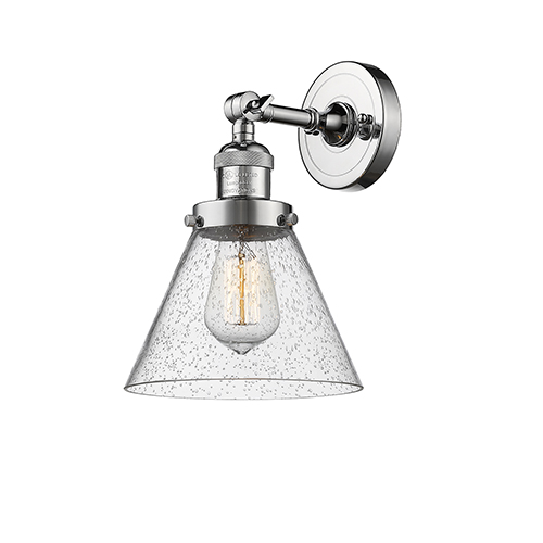 Innovations Lighting Large Cone Polished Chrome One-Light Wall Sconce with Seedy Cone Glass