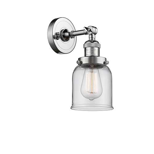 Innovations Lighting Small Bell Polished Chrome LED Wall Sconce with Clear Bell Glass