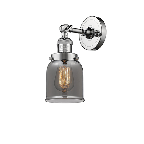 Innovations Lighting Small Bell Polished Chrome One-Light Wall Sconce with Smoked Bell Glass