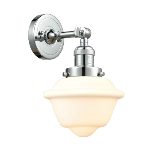 Small Oxford Polished Chrome One-Light Wall Sconce with Matte White Cased Glass