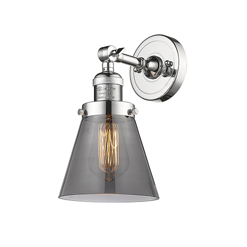 Innovations Lighting Small Cone Polished Chrome One-Light Wall Sconce with Smoked Cone Glass