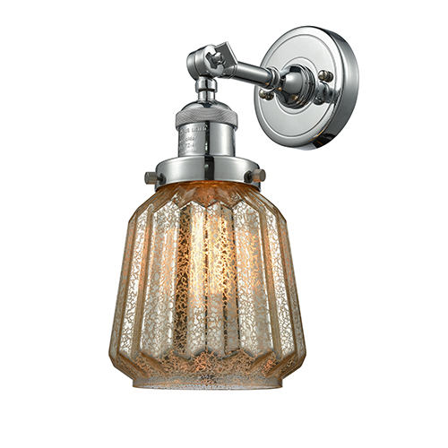Chatham Polished Nickel LED Wall Sconce with Mercury Fluted Novelty Glass