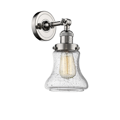 Innovations Lighting Bellmont Polished Nickel One-Light Wall Sconce with Seedy Hourglass Glass
