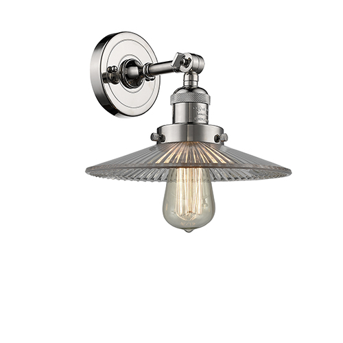 Innovations Lighting Halophane Polished Nickel LED Wall Sconce with Halophane Cone Glass