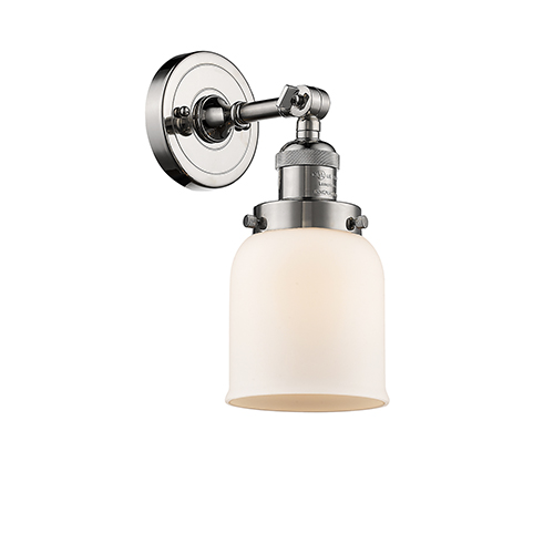 Innovations Lighting Small Bell Polished Nickel One-Light Wall Sconce with Matte White Cased Bell Glass
