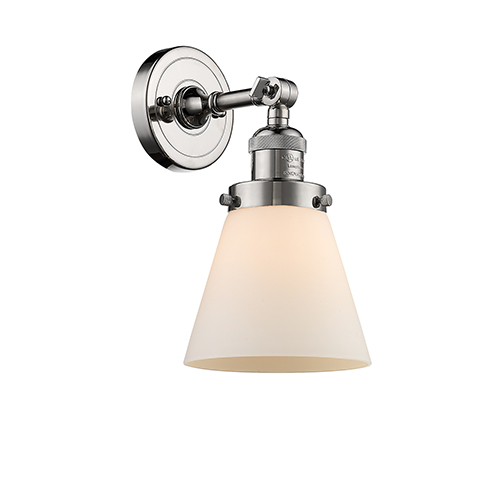 Innovations Lighting Small Cone Polished Nickel One-Light Wall Sconce with Matte White Cased Cone Glass