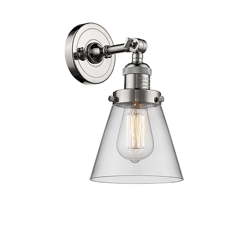 Innovations Lighting Small Cone Polished Nickel One-Light Wall Sconce with Clear Cone Glass