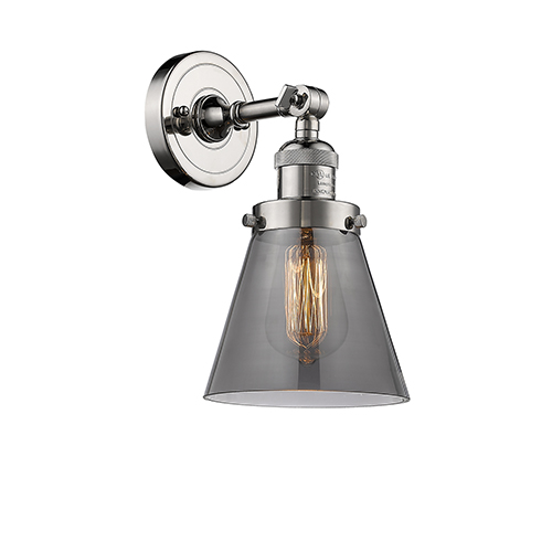 Innovations Lighting Small Cone Polished Nickel One-Light Wall Sconce with Smoked Cone Glass
