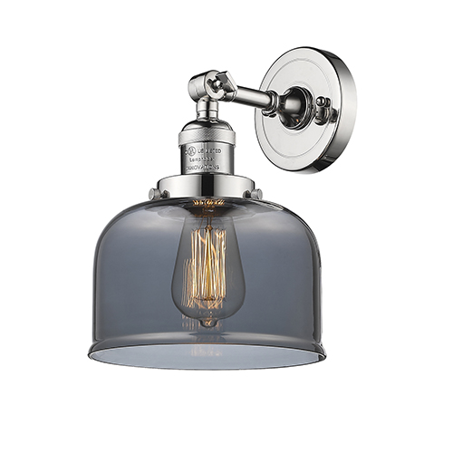 Large Bell Polished Nickel One-Light Wall Sconce with Smoked Dome Glass